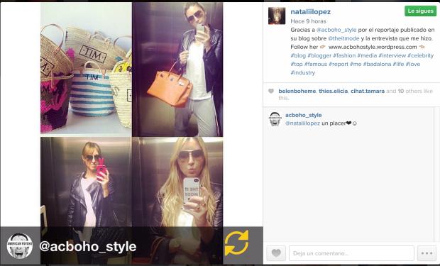 FECHA: 16 Abril 2015 BLOGGER: The It Mode (Natalia López) MEDIO: Instagram